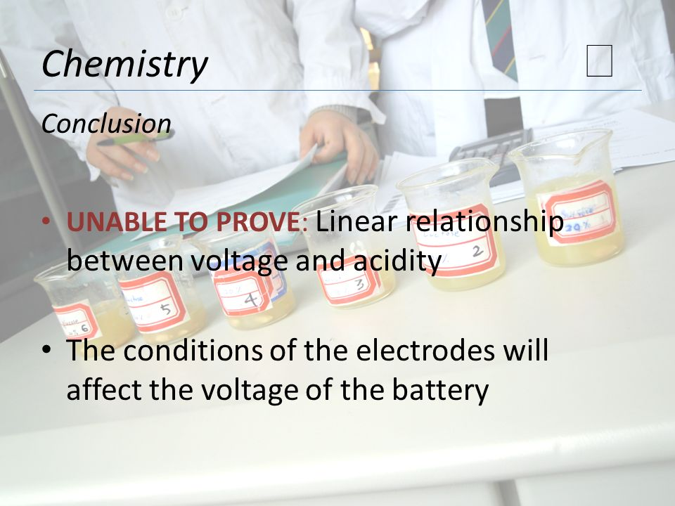 Chemistry ★ Conclusion. UNABLE TO PROVE: Linear relationship between voltage and acidity.