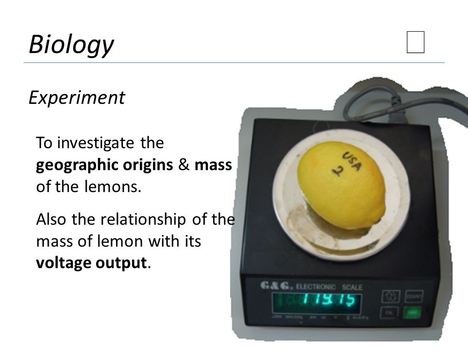 Biology ★ Experiment. To investigate the geographic origins & mass of the lemons.
