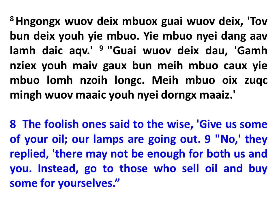 8 Hngongx wuov deix mbuox guai wuov deix, Tov bun deix youh yie mbuo