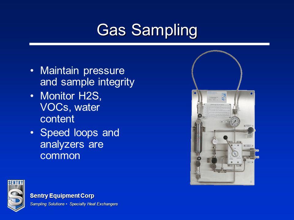 Gas Sampling Maintain pressure and sample integrity