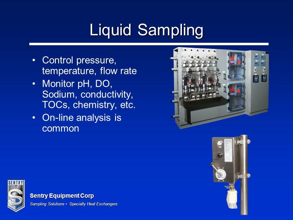 Liquid Sampling Control pressure, temperature, flow rate