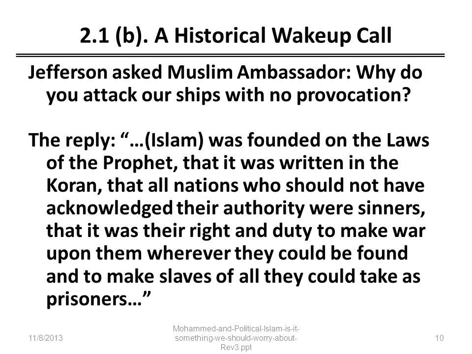 2.1 (b). A Historical Wakeup Call
