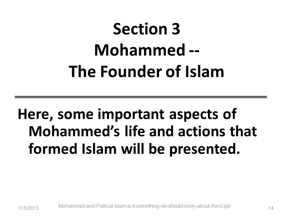 Section 3 Mohammed -- The Founder of Islam
