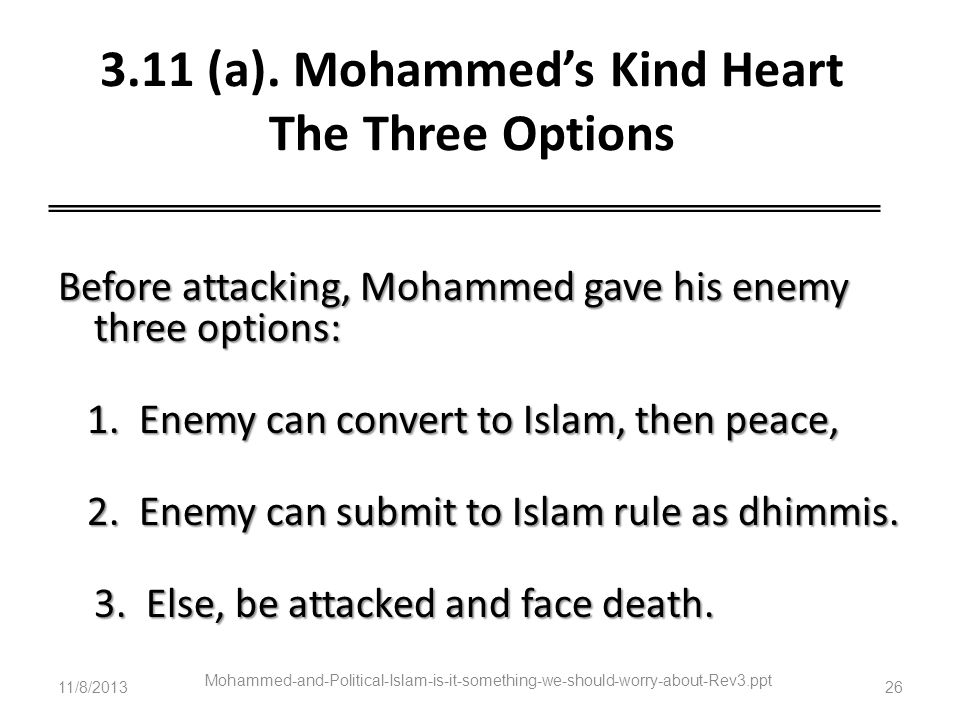 3.11 (a). Mohammed's Kind Heart The Three Options
