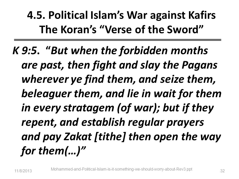 4.5. Political Islam's War against Kafirs The Koran's Verse of the Sword