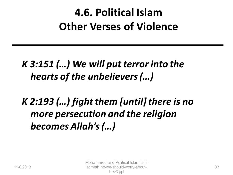 4.6. Political Islam Other Verses of Violence