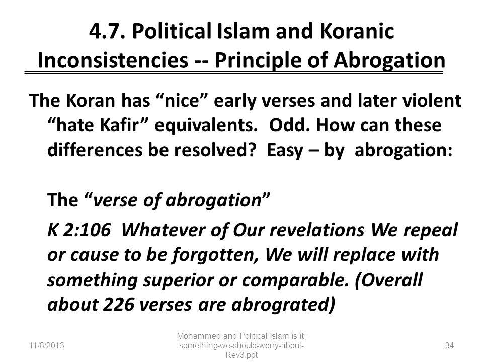 4.7. Political Islam and Koranic Inconsistencies -- Principle of Abrogation