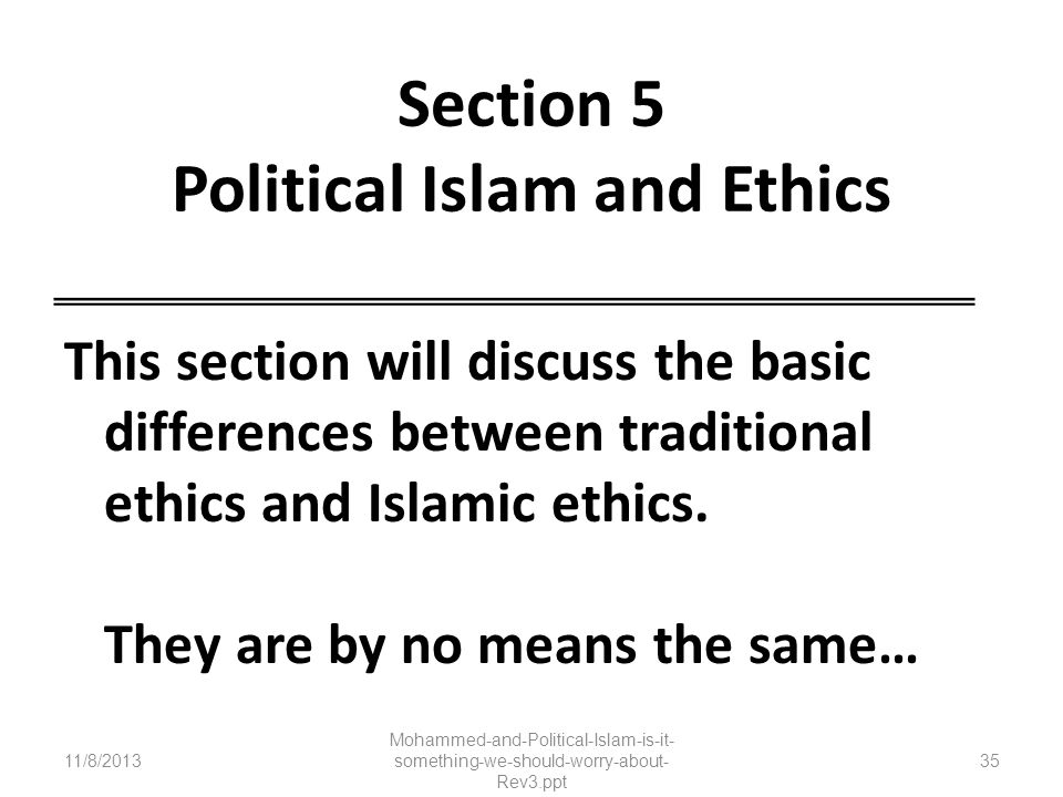 Section 5 Political Islam and Ethics