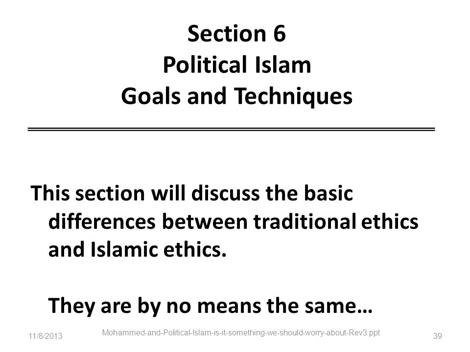 Section 6 Political Islam Goals and Techniques