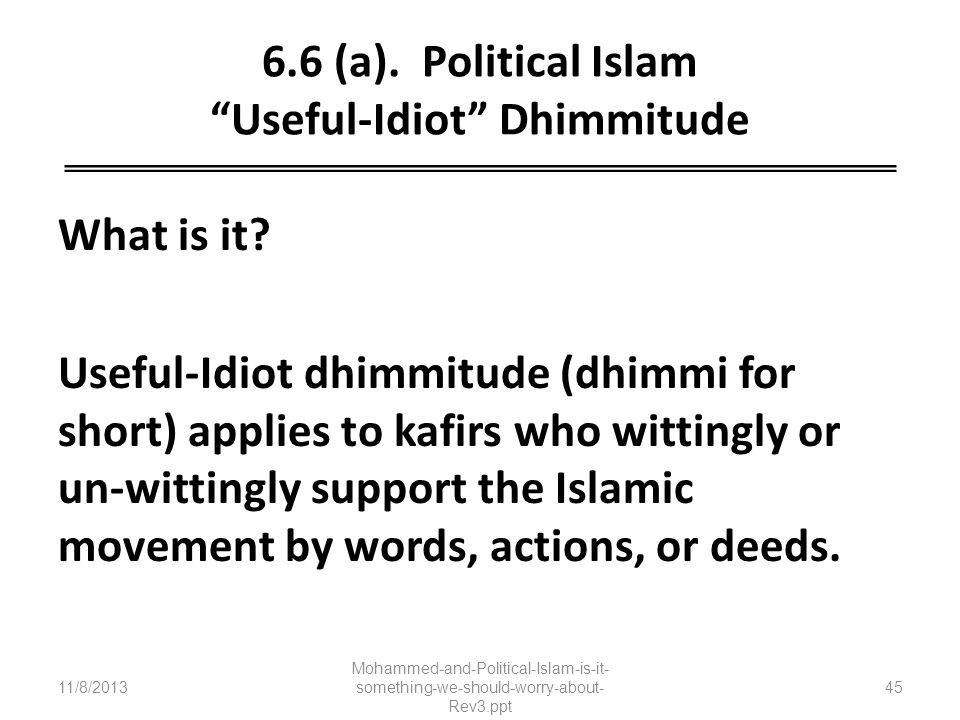 6.6 (a). Political Islam Useful-Idiot Dhimmitude