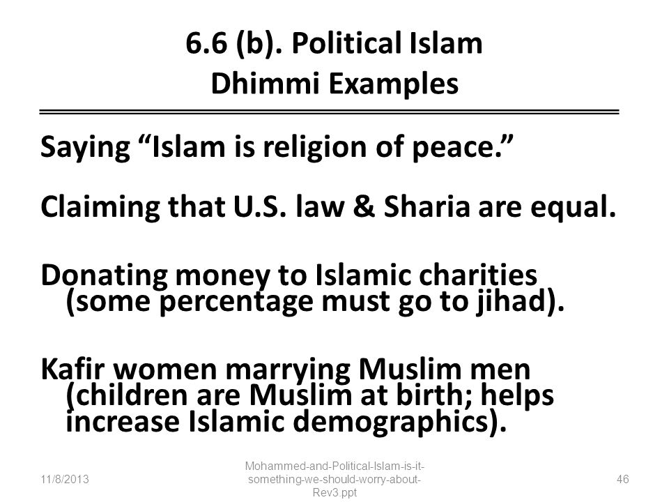 6.6 (b). Political Islam Dhimmi Examples