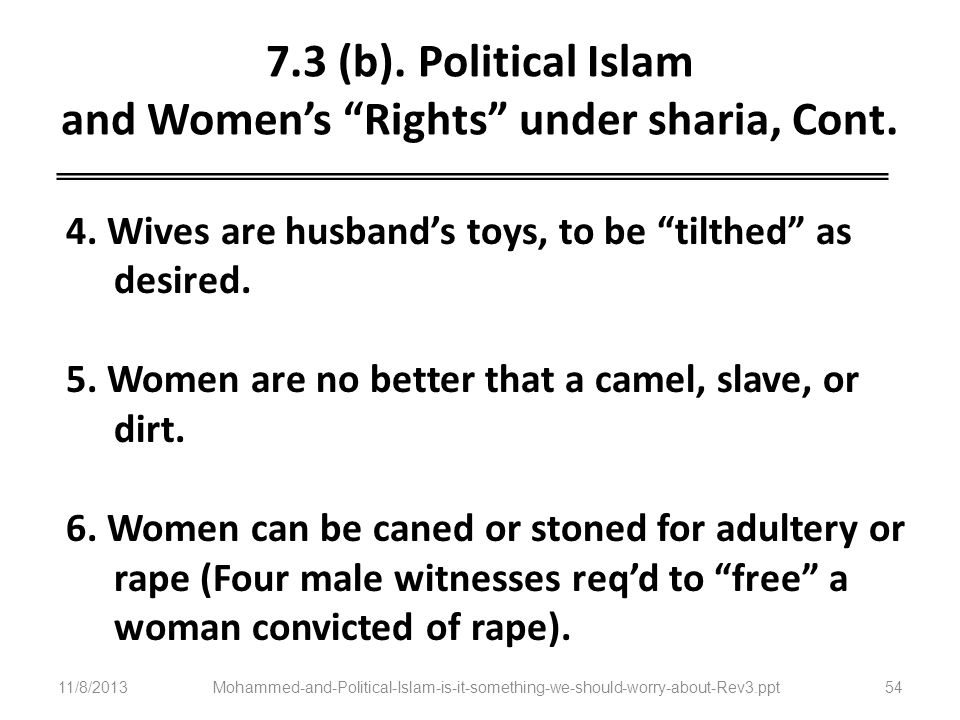 7.3 (b). Political Islam and Women's Rights under sharia, Cont.