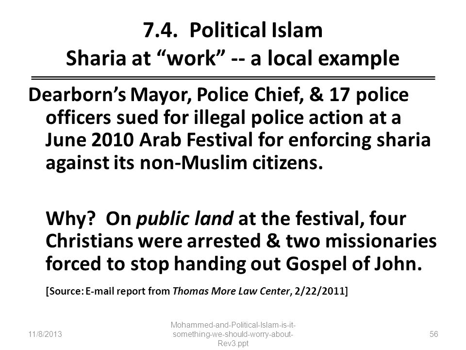 7.4. Political Islam Sharia at work -- a local example