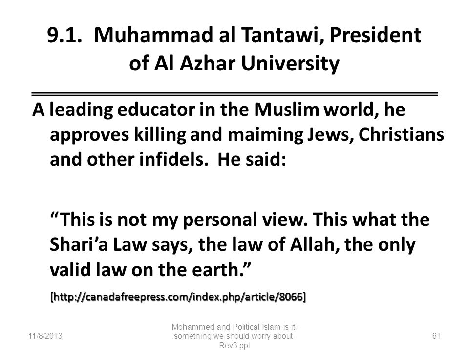 9.1. Muhammad al Tantawi, President of Al Azhar University