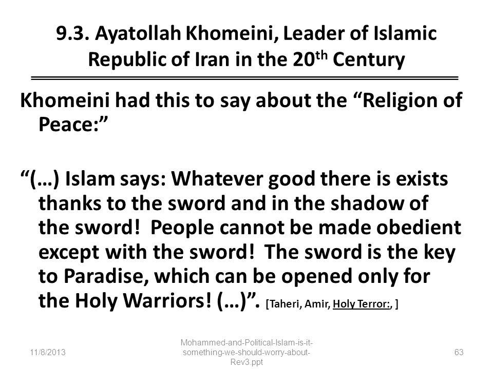 9.3. Ayatollah Khomeini, Leader of Islamic Republic of Iran in the 20th Century