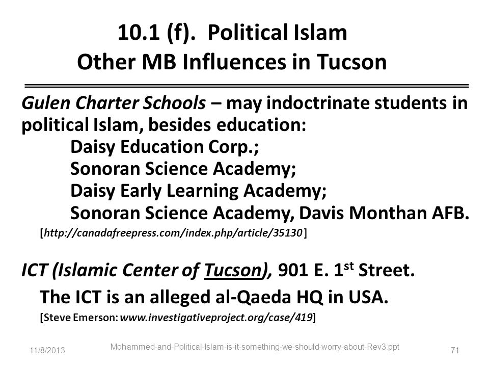 10.1 (f). Political Islam Other MB Influences in Tucson