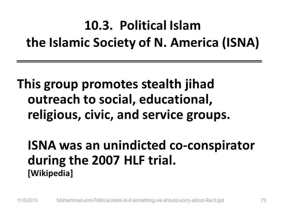 10.3. Political Islam the Islamic Society of N. America (ISNA)