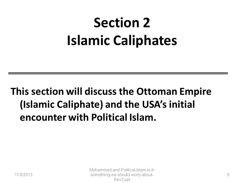 Section 2 Islamic Caliphates