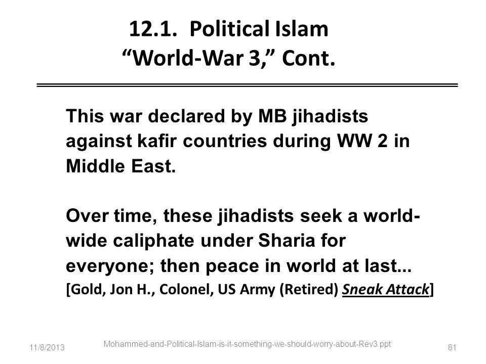 12.1. Political Islam World-War 3, Cont.