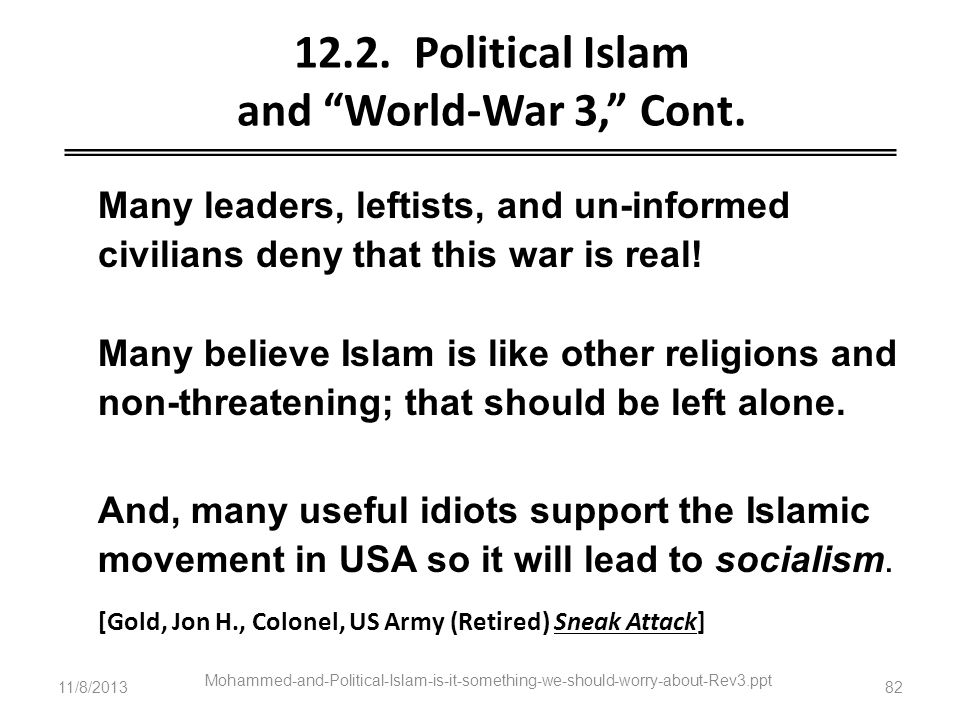 12.2. Political Islam and World-War 3, Cont.