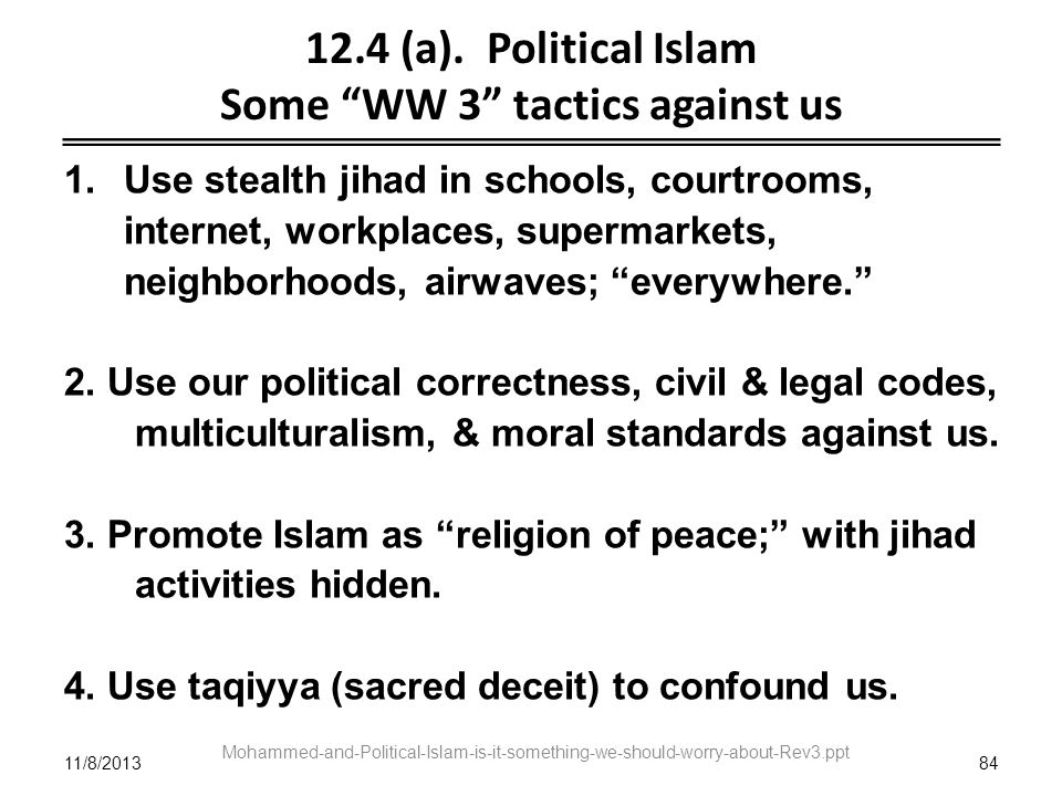 12.4 (a). Political Islam Some WW 3 tactics against us