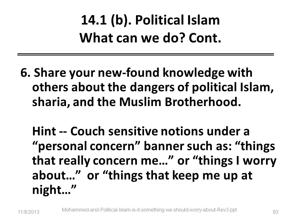 14.1 (b). Political Islam What can we do Cont.