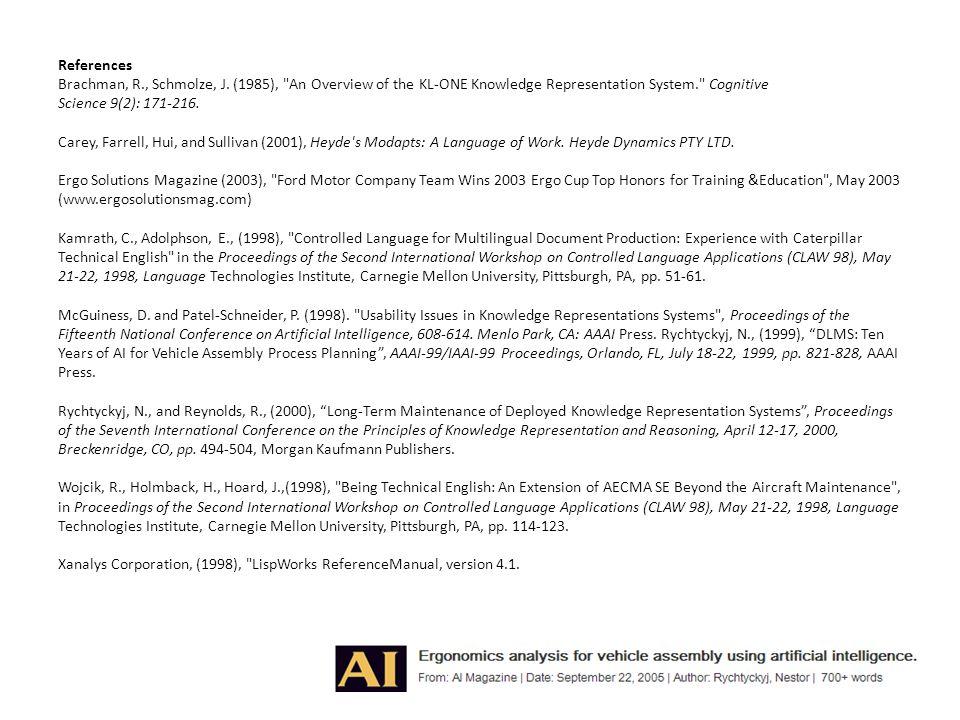 References Brachman, R. , Schmolze, J