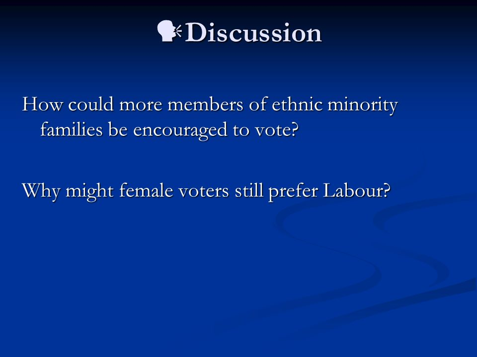 Discussion How could more members of ethnic minority families be encouraged to vote.