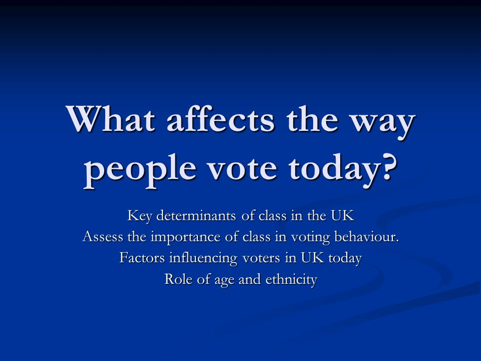 What affects the way people vote today