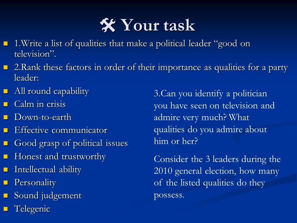  Your task 1.Write a list of qualities that make a political leader good on television .