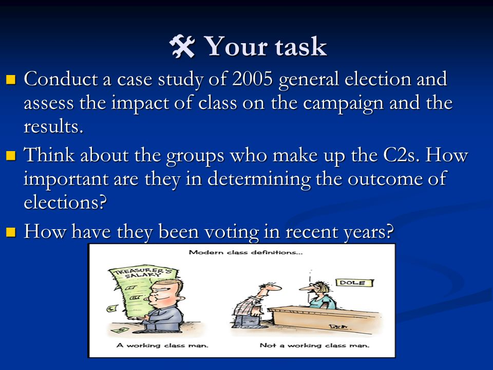  Your task Conduct a case study of 2005 general election and assess the impact of class on the campaign and the results.