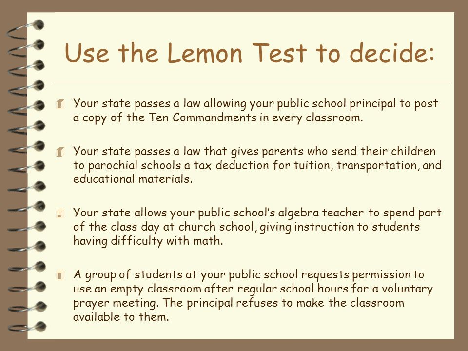 Use the Lemon Test to decide: