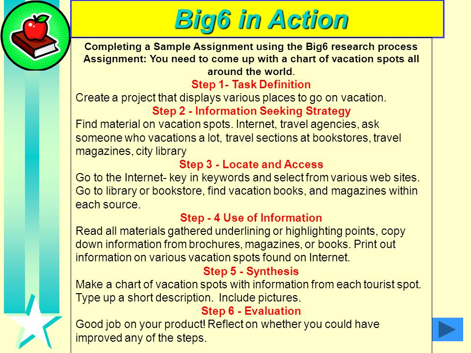 Big6 in Action Step 1- Task Definition