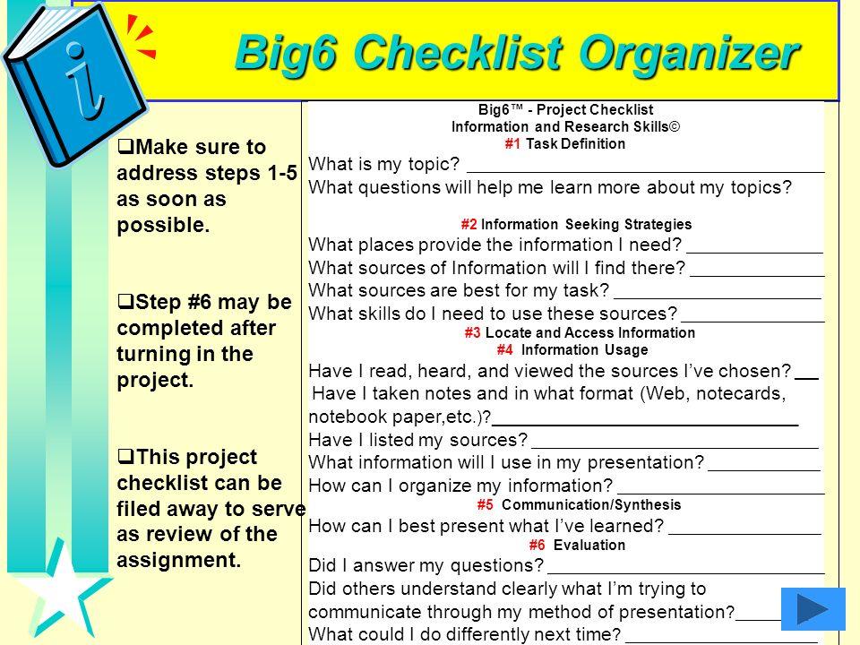 Big6 Checklist Organizer