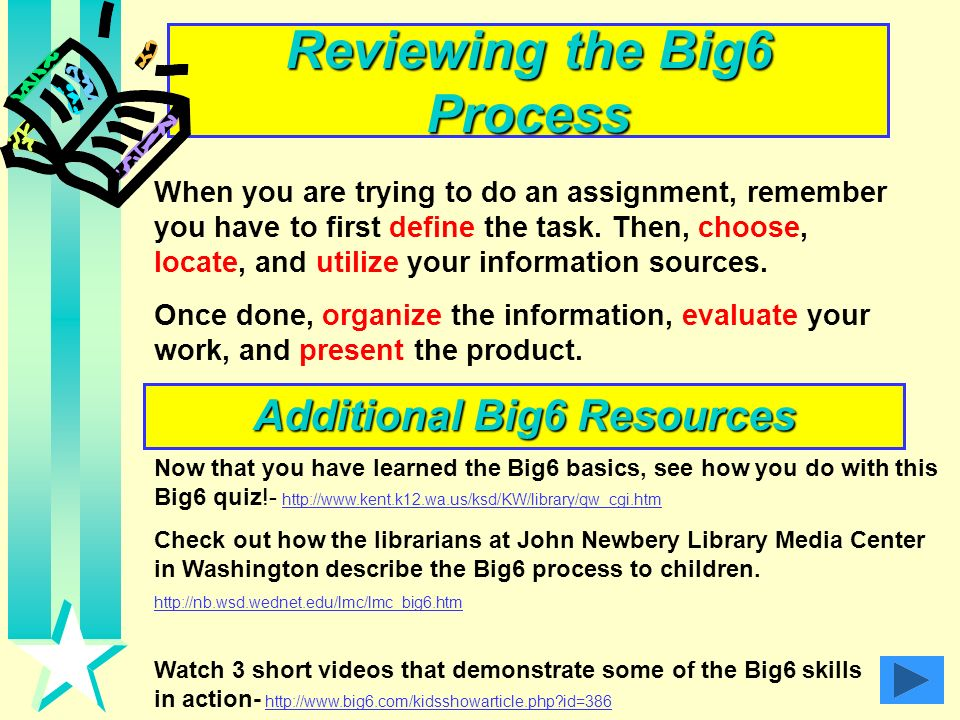 Reviewing the Big6 Process Additional Big6 Resources