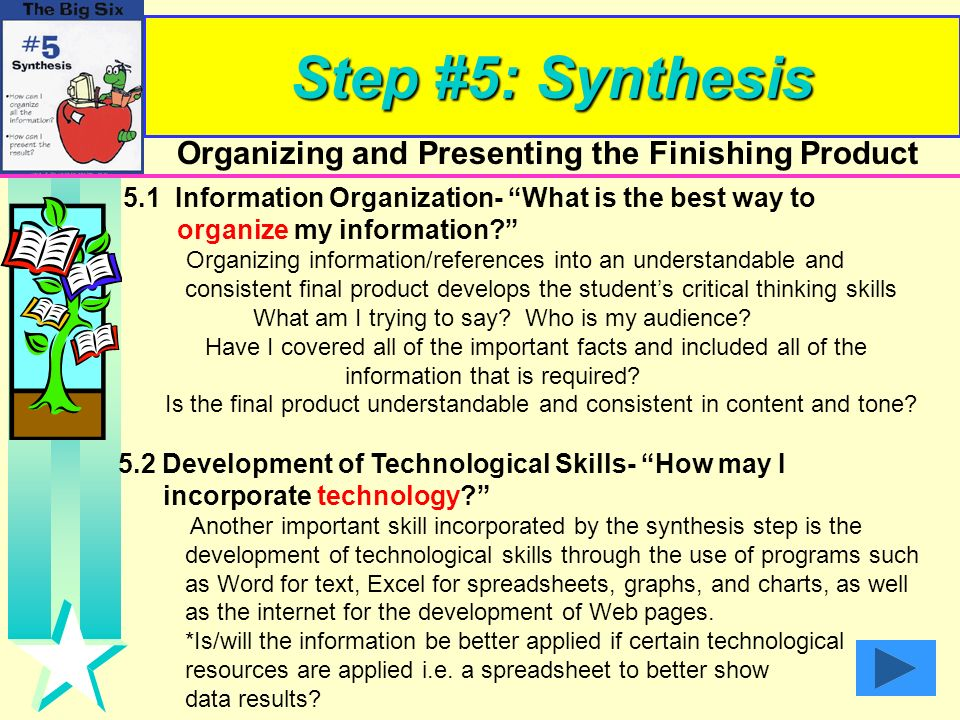 Step #5: Synthesis organize my information