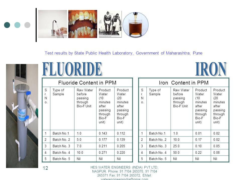 Fluoride Content in PPM