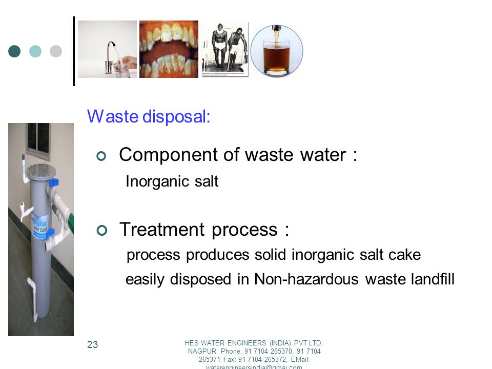 Treatment process: Component of waste water: Waste disposal: