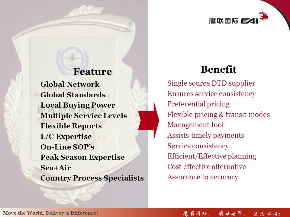 Benefit Feature Global Network Single source DTD supplier