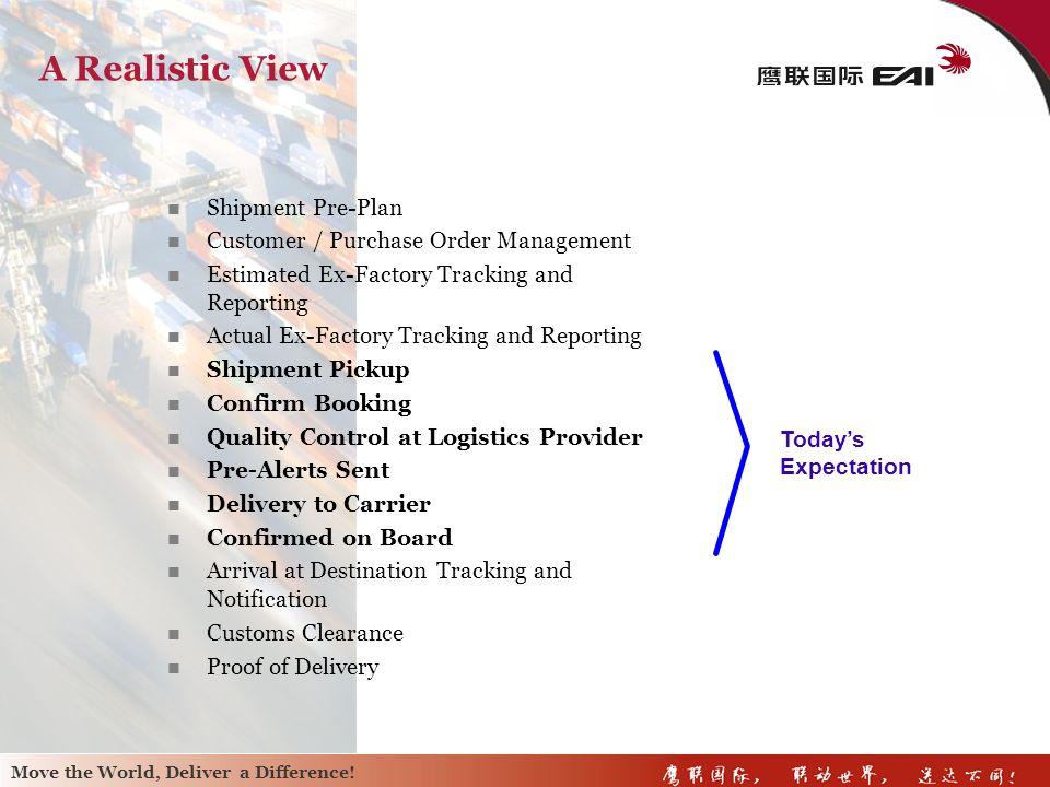 A Realistic View Shipment Pre-Plan