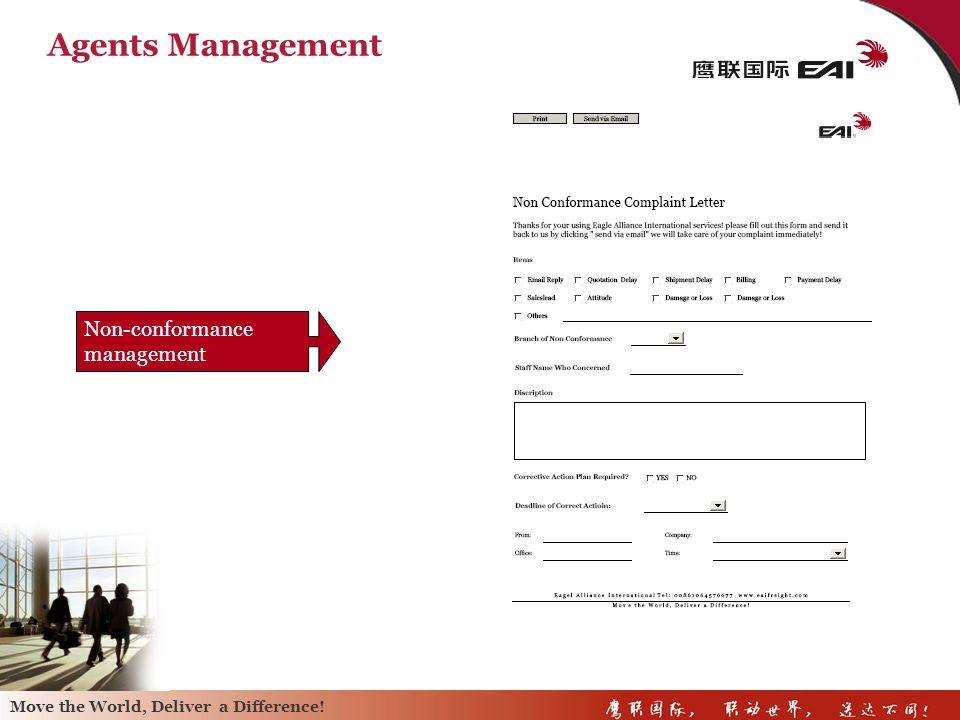 Agents Management Non-conformance management