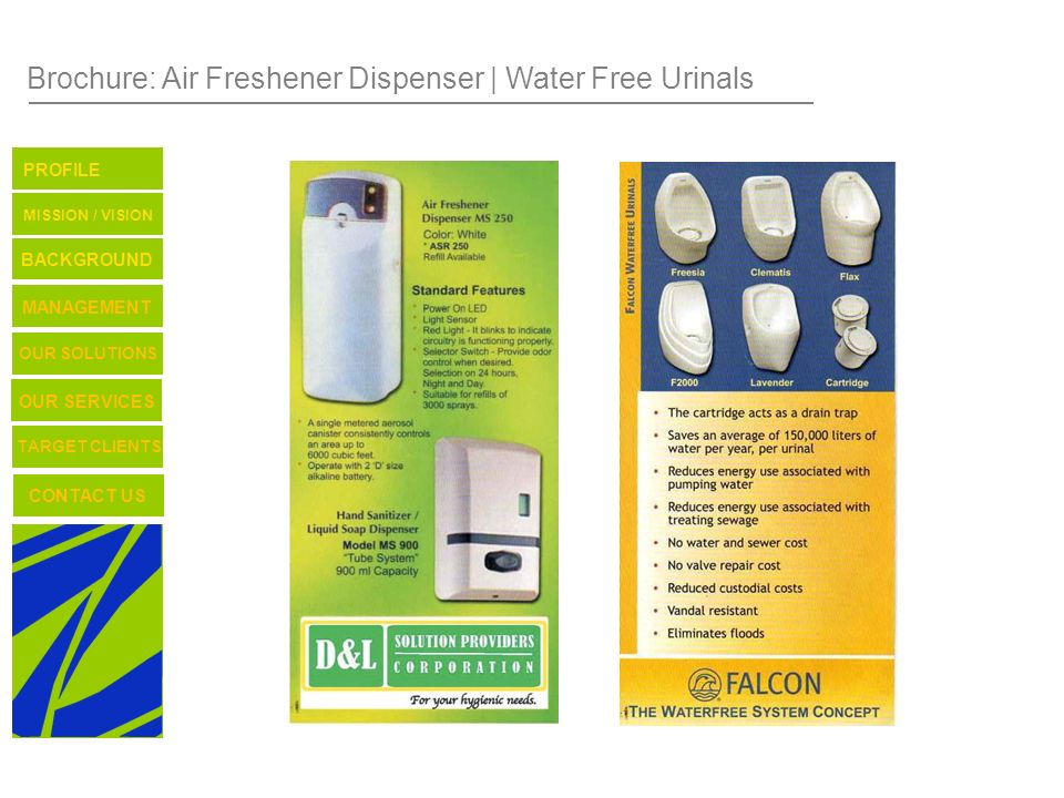 Brochure: Air Freshener Dispenser | Water Free Urinals