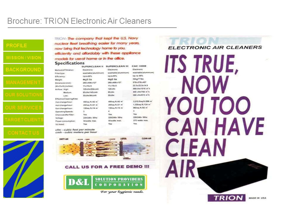 Brochure: TRION Electronic Air Cleaners