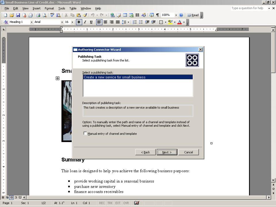 <Screenshot> <Authoring Connector aan de hand van het menu laten verschijnen>
