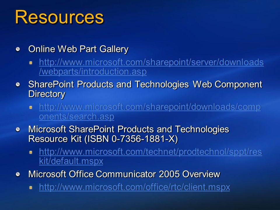 Resources Online Web Part Gallery