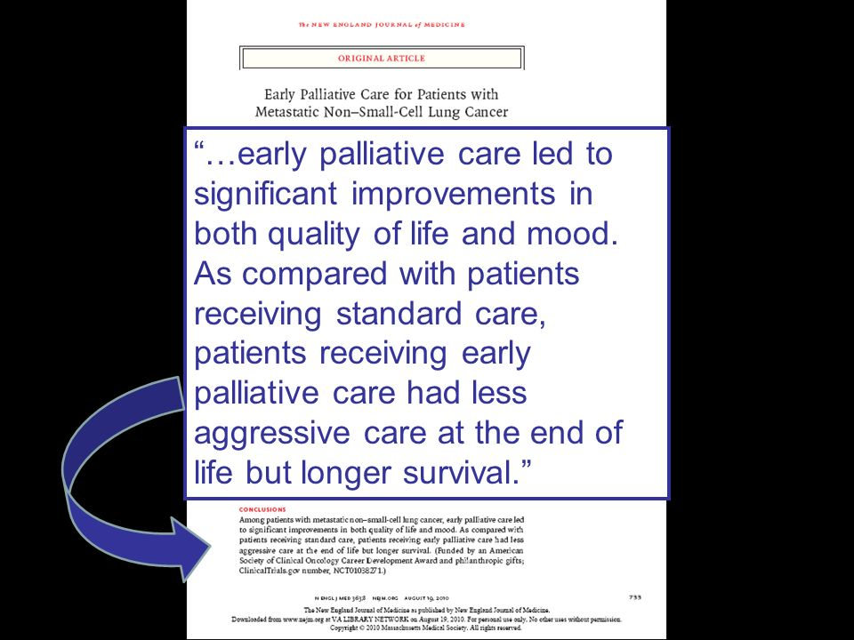 …early palliative care led to significant improvements in both quality of life and mood. As compared with patients receiving standard care, patients receiving early palliative care had less aggressive care at the end of life but longer survival.