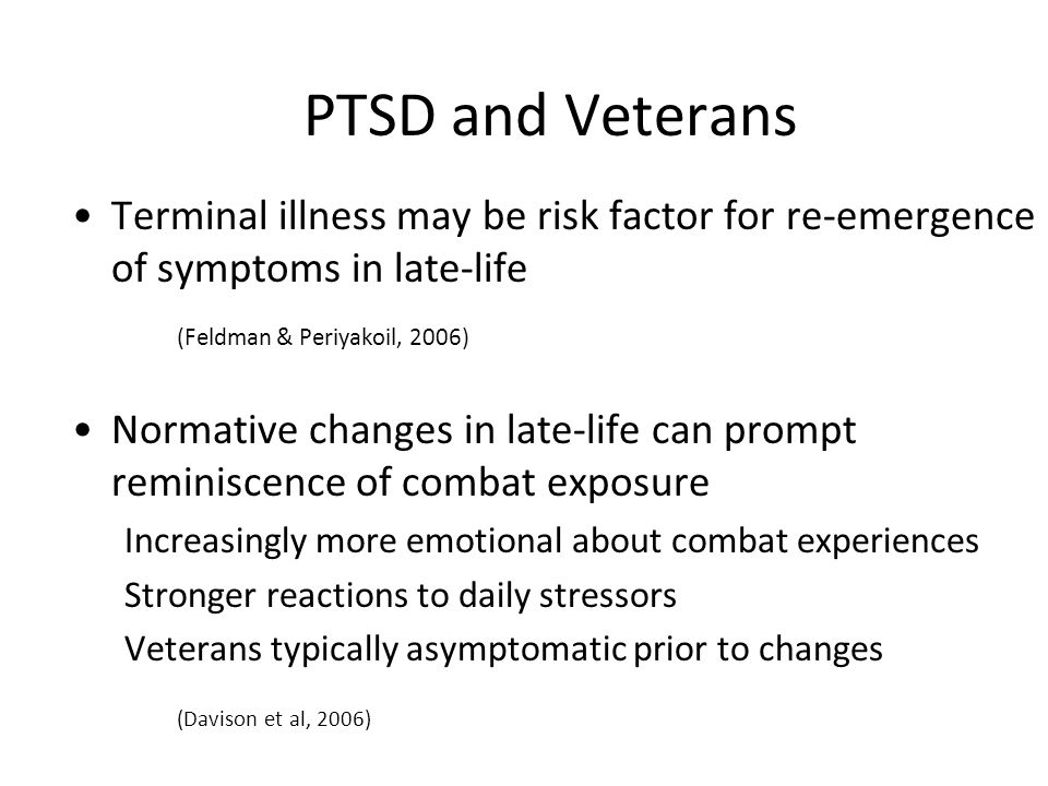 PTSD and Veterans (Davison et al, 2006)