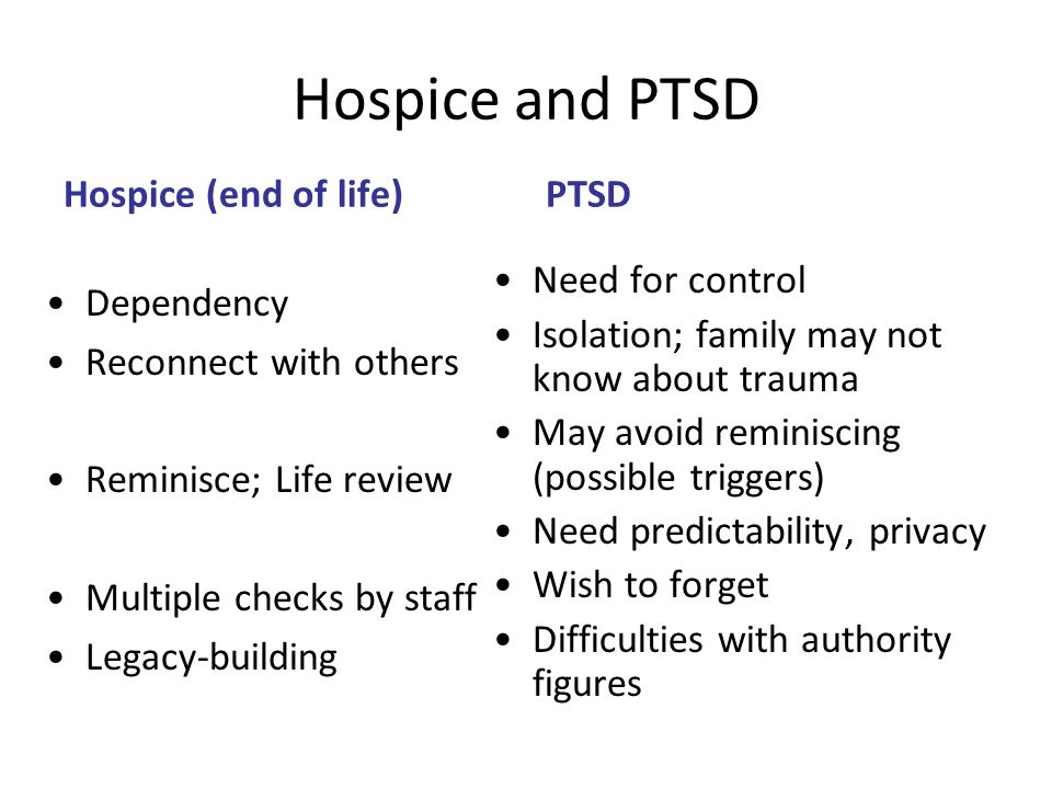 Hospice and PTSD Hospice (end of life) PTSD Need for control