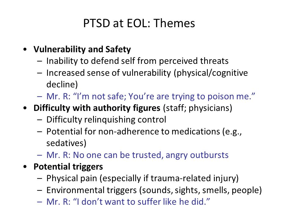 PTSD at EOL: Themes Vulnerability and Safety