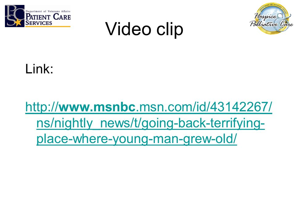 Video clip Link: http://www.msnbc.msn.com/id/43142267/ns/nightly_news/t/going-back-terrifying-place-where-young-man-grew-old/